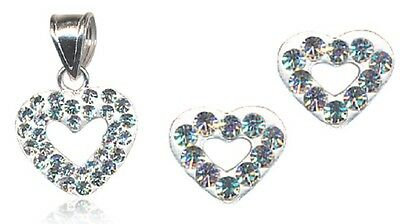 Ladies S/silver Heart Shaped Crystal Gift Set- Rrp $33.50 Includes Pendant/studs