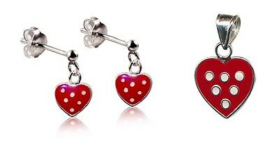 Girls 925 S/silver Red Polka Dot Heart Pendant/stud Set With Free Display Chain