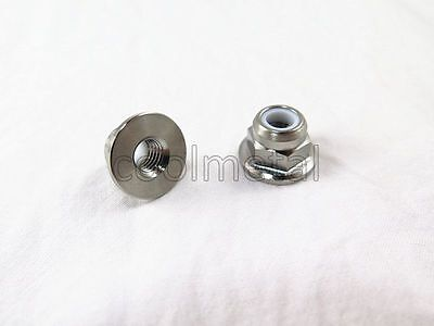 2PC Titanium Hex Flange Nylon Lock Nut M6 x1.0mm pitch Flange Nut M6 No rust