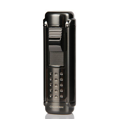 CIGARISM Black 4 Torch Flame Cigar Lighter W/ Punch for COHIBA Cigars
