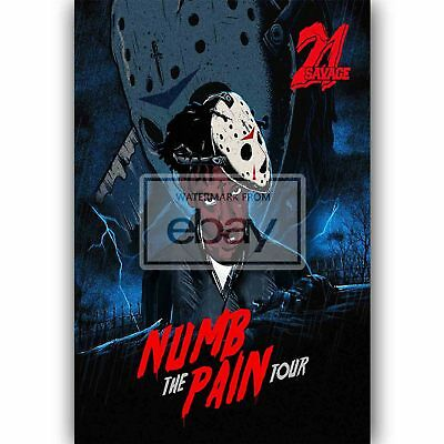 New 21 Savage Numb The Pain Tour Silk Poster Custom Wall Decor 20x13 Inch
