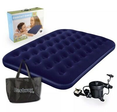 Bestway Flocked Air Bed Portable Travel Indoor Outdoor Bed with Pump & Bag