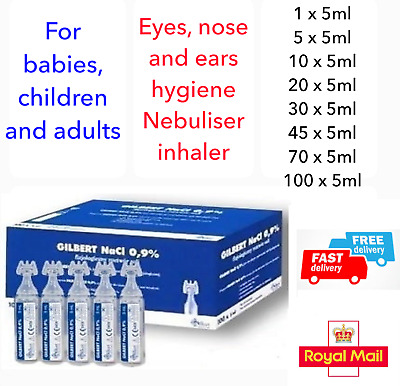 ✅STERILE SALINE SOLUTION GILBERT NaCl NASAL NEBULISER PODS EYEWASH Sól ✅UK STOCK