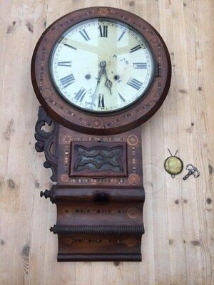 Antique - OLD LARGE WALL CLOCK with fabulous inlaid wooden case -  to restore