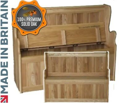 Solid Oak Monks Bench, 4ft Wide Settle, Lifting Lid Shoe Storage, Hallway Seat