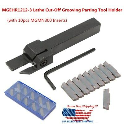 10Pcs MGMN300 Insert + MGEHR1212-3 Lathe Cut-Off Grooving Parting Tool Holder