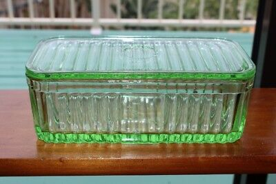 LARGE Vintage Green DEPRESSION Glass Ribbed Butter Dish