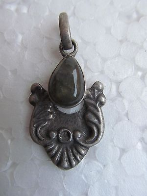 Rarest Design Onyx Gemstone Vintage Original Old Silver Necklace Pendant India