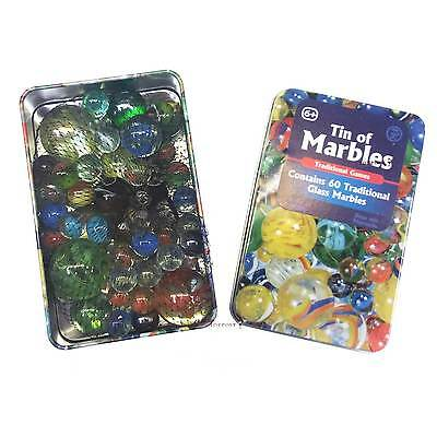 Marbles in a Tin Gift Box - Traditional Set of 60 Glass Marbles - Vintage Style