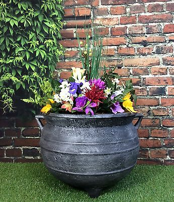 Witches Cauldron Garden Planter Large 18 Inch Cast Iron Effect /patio flower pot