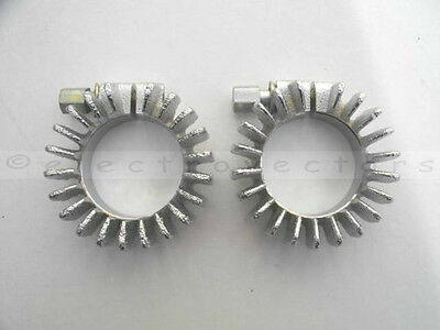 Pair of Chrome Finned Exhaust Roses / Clamps Triumph 350 - 500 70-4947