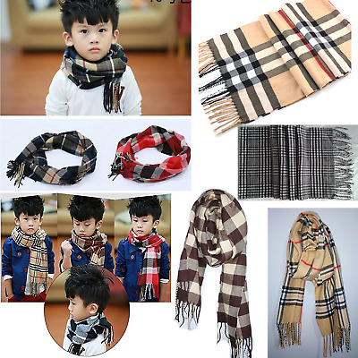 Children Kids Boy Girl Classic Grid Plaid Scarves Wool Spinning Neckerchief New