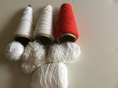 450 Grams, in all, of Cotton, yarn, 4ply, White and Red,