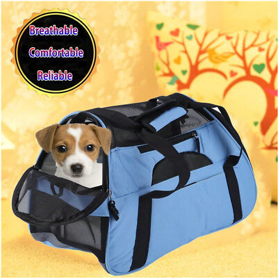 Breathable Portable Pet Dog Cat Sided Carrier Puppy Travel Tote Cage Bag Blue AL