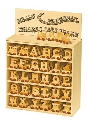 Display letters alphabet wooden for creating model trains with nomi and parole