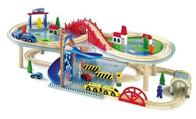 Railroad toy su most livelli in wood with accessories