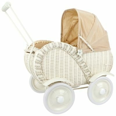 Pram wicker with wheels loaders x dolls game/toy x bambine