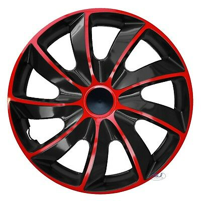 "4 pcs SET 16"" WHEEL TRIMS COVERS  RED & BLACK HUB CAPS 16 INCH QUAD"