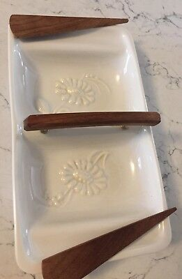 VTG Whittier Potteries Calif USA 600 pottery dish Wood Handle & Spreaders Set