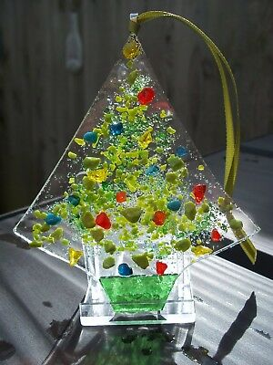 Fused glass Christmas tree light catcher