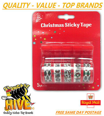 5 x Christmas Sticky Tape & Dispenser Craft Paper Xmas Gift Wrapping 10 metres