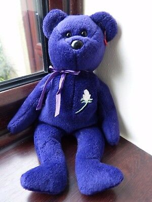 1997 TY Beanie Baby Princess Diana purple bear Made in Indonesia PVC pellets