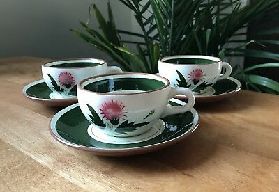 STANGL pottery - set of 3 cups and saucers. Trenton NJ