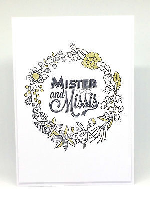 Handmade Greeting Card - Wedding Mister & Mrs Wreath