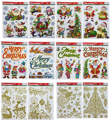 Stunning Glitter Window Clings Snow Stickers Christmas Decorations Many Designs