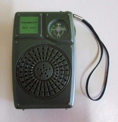 Vintage Transistor Radio - Solid State - Green Colonel 677 - Working - 1970s