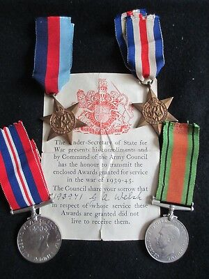 WW2 Medal Group and Forwarding Slip. King's Own Scottish Borderers. Died 1944