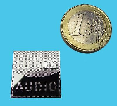 HI-RES AUDIO  METALISSED CHROME EFFECT STICKER LOGO AUFKLEBER 20x20mm [718]