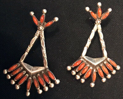 Zuni Pueblo Coral Needlepoint Earrings w Hand Constructed & Stamped Sterling