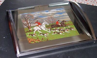 Super Art-Deco Chrome & Rosewood Cocktail/Decanter Tray Scene Of The Hunt 1930s
