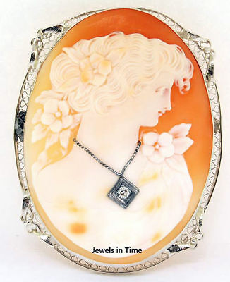 Ladies Cameo Brooch White Gold & Diamond