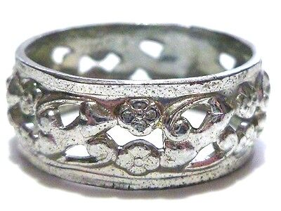Estate Art Deco Sterling Silver Floral Flower Friendhsip Ring Band Size 9.25