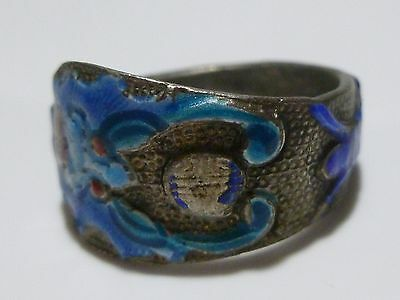 Antique Old Chinese Export Asian Silver & Enamel Ring Band Size 7.75