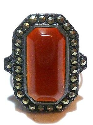 Stunning Art Nouveau Deco Sterling Silver & Marcasite Estate Ring Band Size 8