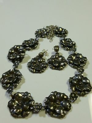 Rare Augello Bros Sterling Silver Floral Flower Necklace & Earring Set Pair Lot