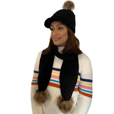Women Girls Knitted Detachable Faux Fur Pom Pom Peaked Hat and Scarf Set