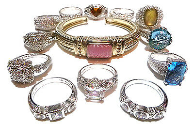 Large Collector Lot 12 Ring (S) Band (S) 1 Bracelet Judith Ripka Sterling Silver