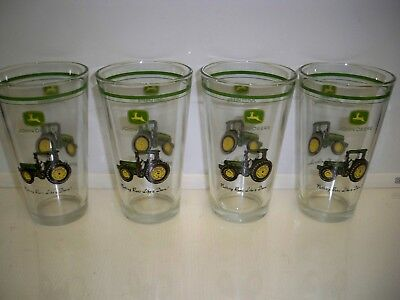 4 John Deere Tractor Glasses 6'' Tall