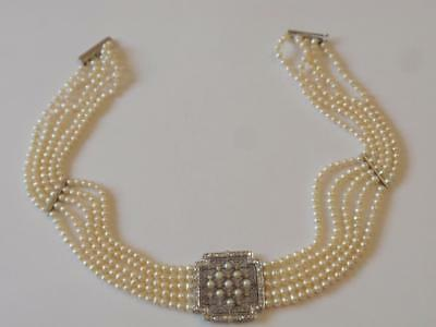 VINTAGE 1990'S 18CT. white gold  5 ROW PEARL & DIAMOND CHOKER NECKLACE