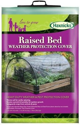 Haxnicks Bed010103 Raised Bed Weather Protection Poly Cover, White, 120x100x50