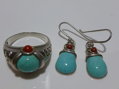 Womens Designer Set Sterling Silver Earrings & Ring Lot Coral Turquoise