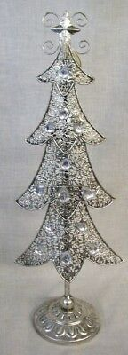 """NEW Silver Metal with Clear Gems CHRISTMAS TREE 15"""" Tall TII Collections"""