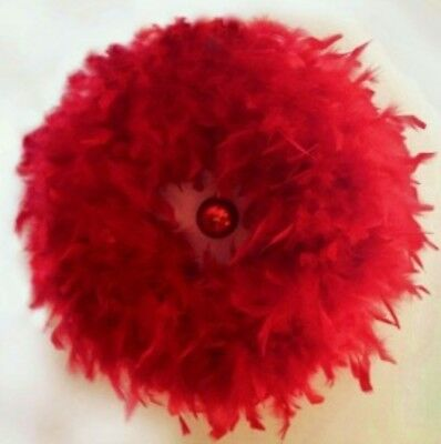 """NEW RED FEATHER CHRISTMAS WREATH 23"""" diameter  Indoor/Outdoor Use"""