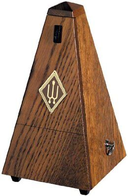 Wittner W818 Wooden Metronome with Bell - Brown Oak/Matt Silk