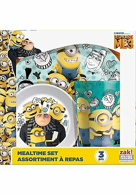 Despicable Me 3 - 3 Piece Melamine Mealtime Set Cup Plate Bowl Minions New Gift