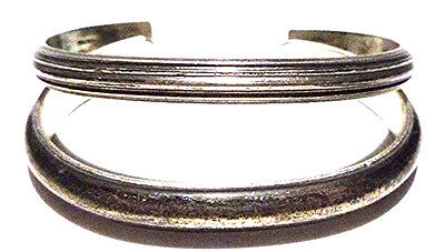 """Set Pair Of Hand Wrought Sterling Silver Designer """"ic"""" & """"cw"""" Cuff Bracelet (S)"""